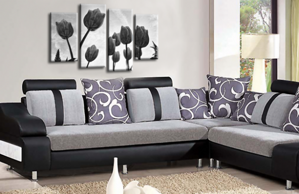 Floral Flowers Canvas Wall Art Picture Tulip Print Black White